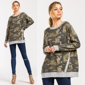 HELEN Camo French Terry Top - OLIVE